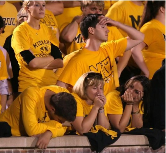 Mizzou fans in disbelief after yet another underwhelming performance.