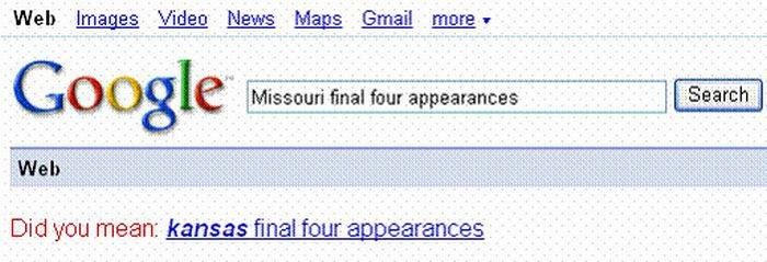 "Google search for ""Missouri Final Four Appearances"""