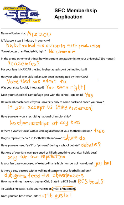 Mizzou's application to join the SEC