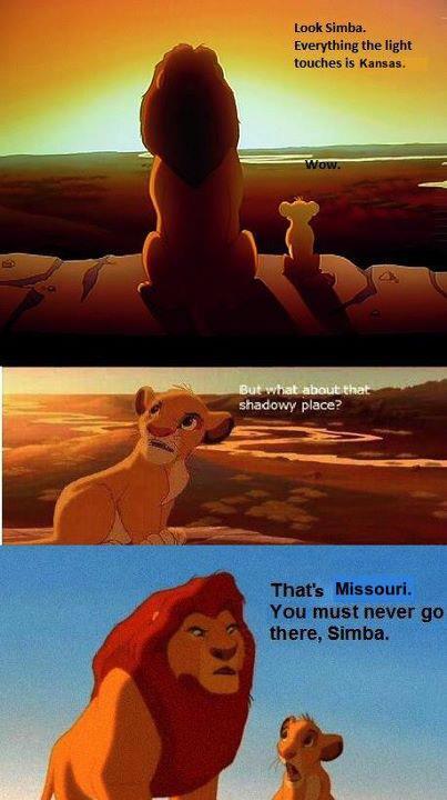 Mufasa warns Simba of the evil dark Missouri territory.