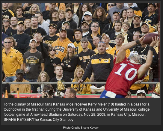 Kerry Meier catches the game winning touchdwon in front of Mizzou fans.