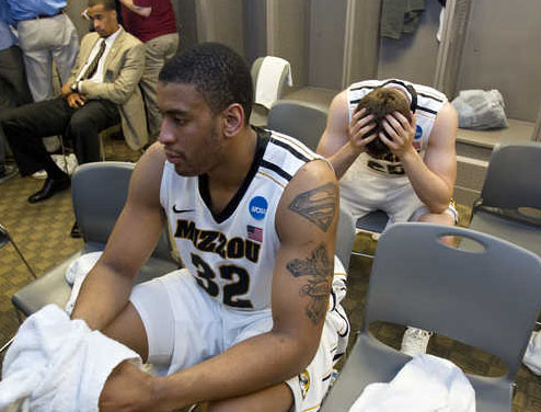 Mizzou forward Steve Moore contemplates his existence after MIzzou's epic first round loss to 15 seed Norfolk St in the 2012 NCAA Tournament.