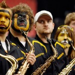 Mizzou band reacts to an impending loss in the NCAA tournament.