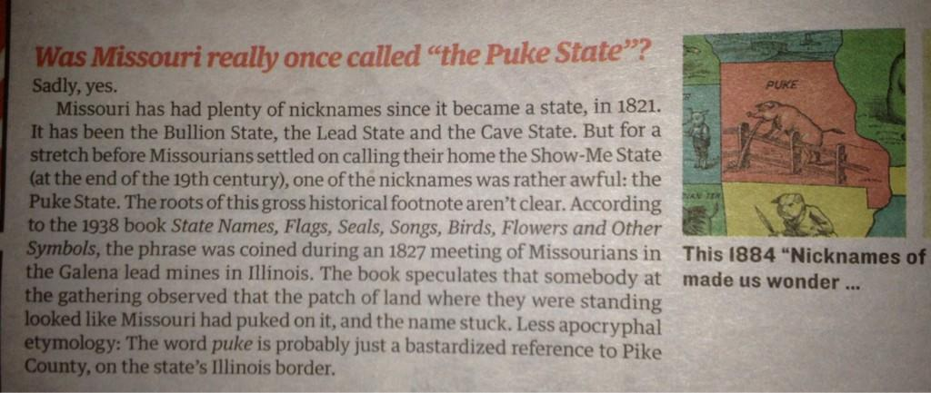 An blurb from the Pitch explaining on Missouri's former nicknames.