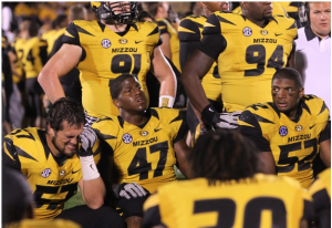 Mizzou's Brad Madison (57), Kony Ealy (47) and Michael Sam (52) react to the impending loss to Georgia late in Saturday's game. (Photo by Laurie Skrivan) via STLToday.com