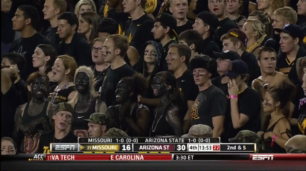 Mizzou football fans in black face