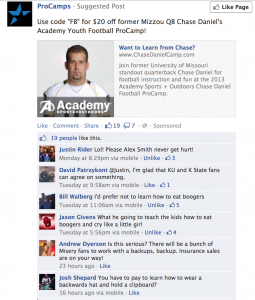 Chase Daniels ad for his skills camp is met with sarcasm from local fans.
